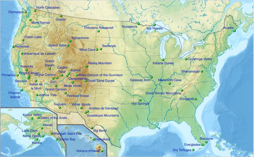 Carte des parcs nationaux USA
